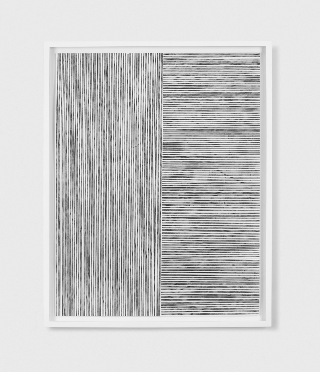 Untitled (the line between #2)  2014, charcoal and powdered graphite on translucent tape, cut and arranged on cotton paper, 22 x 28 inches