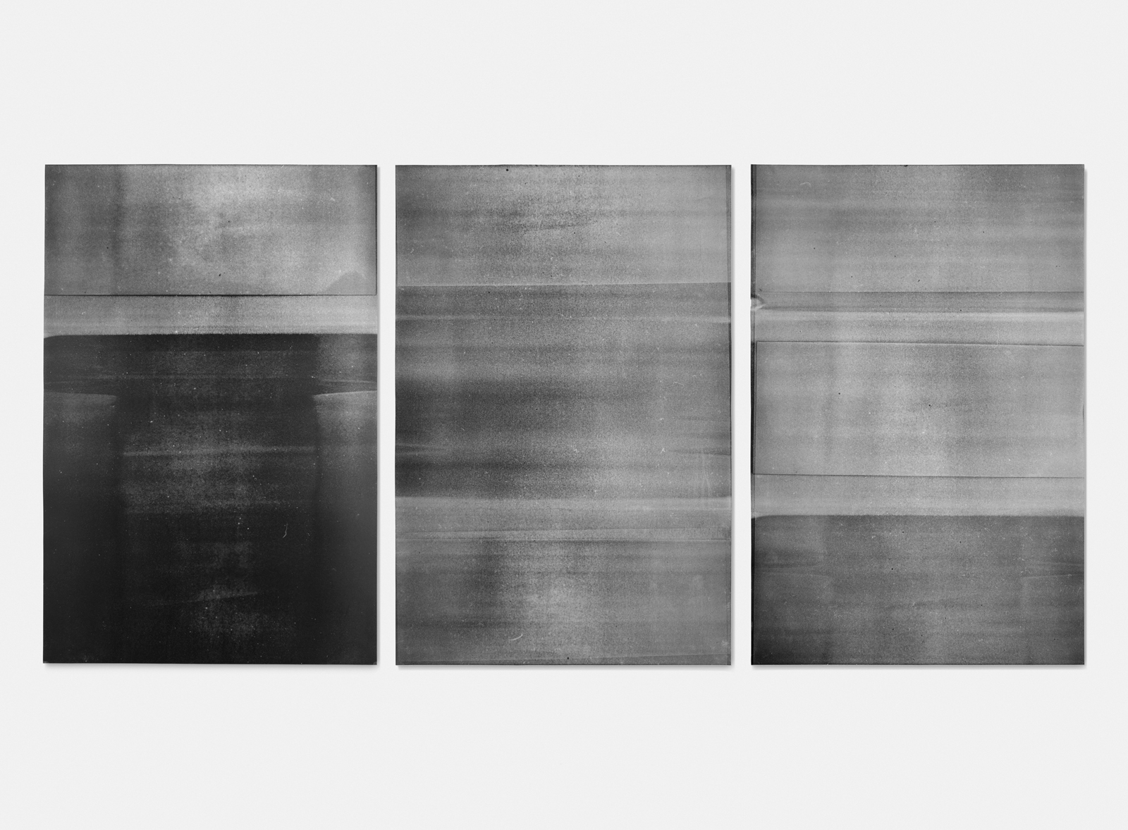 Untitled (mylar #1, #2, and #3, from the ongoing series reflected/repeated)  2014, oil based ink painted onto mylar 24 x 36 inches each