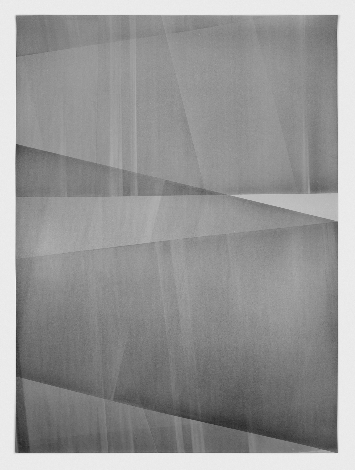 Untitled (layered, from the ongoing series reflected/repeated)   2015, Oil based ink painted onto newsprint. 38 x 50 inches (unframed)