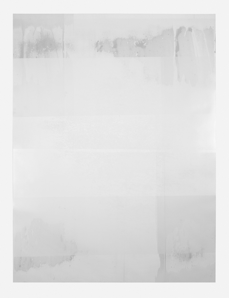 Untitled (white, from the series reflected/repeated - light becomes form, the horizon rests into view)  2015, Oil on mylar. 38 x 50 inches (unframed)