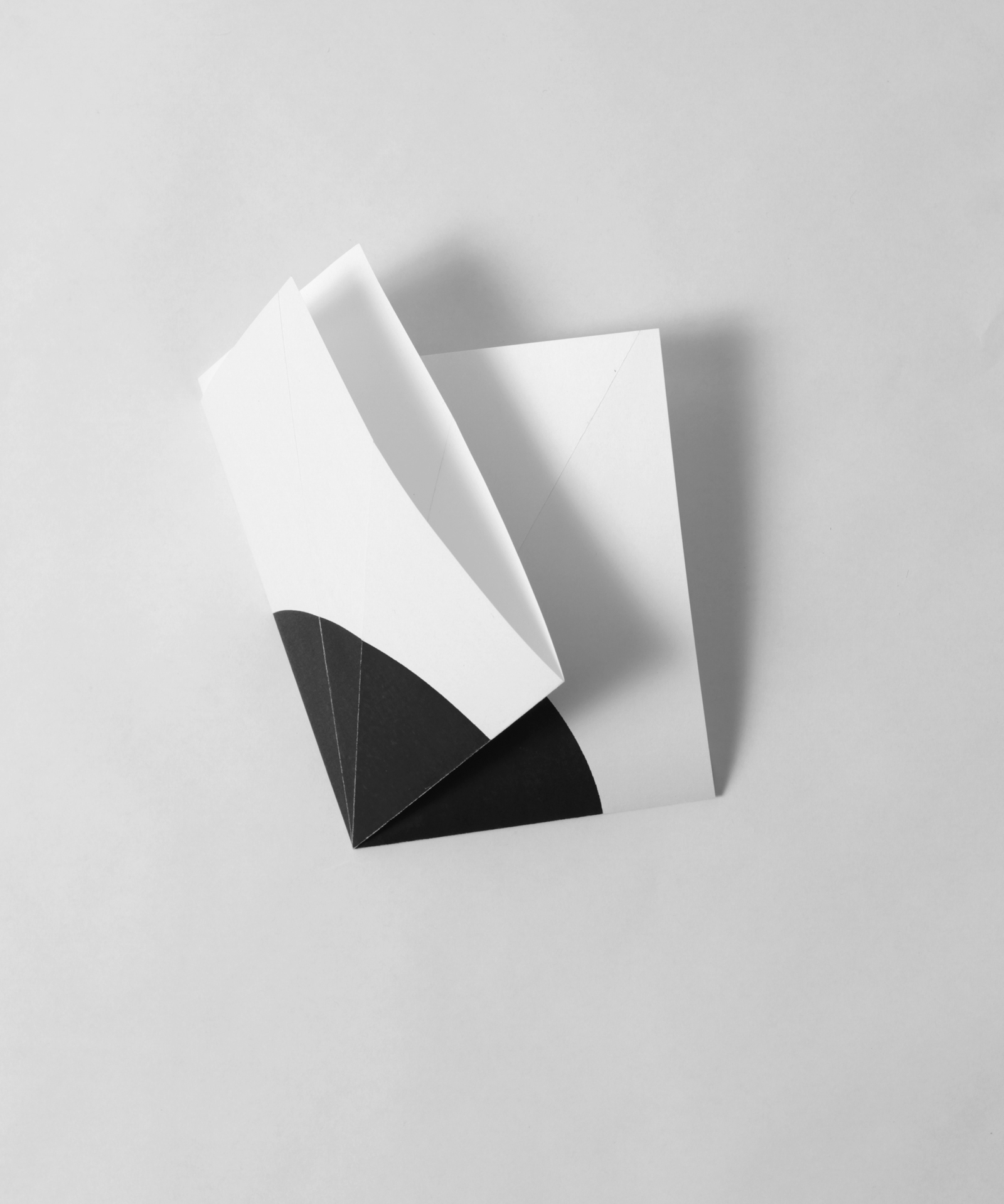 from the ongoing series: O/, Divided/Defined, Weights, Measures, and Emotional Geometry  2013, Folded photocopied circle. 8 x 10 inches folded