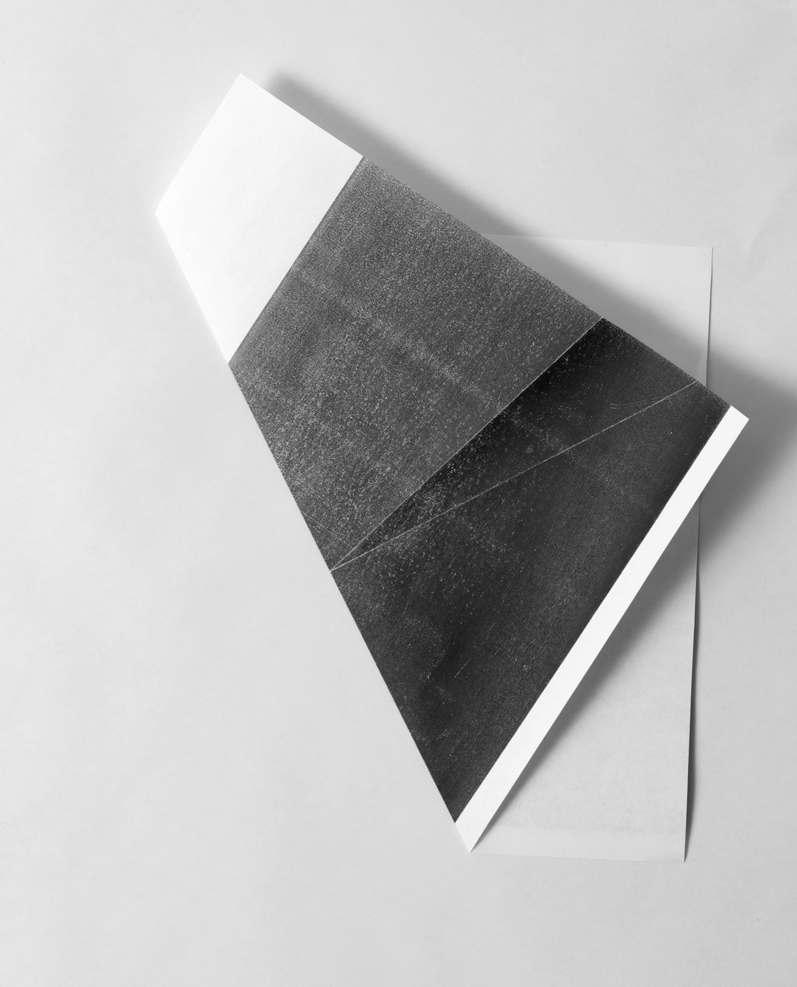 from the ongoing series: O/, Divided/Defined, Weights, Measures, and Emotional Geometry  2013, Folded photocopy. 8 x 10 inches folded