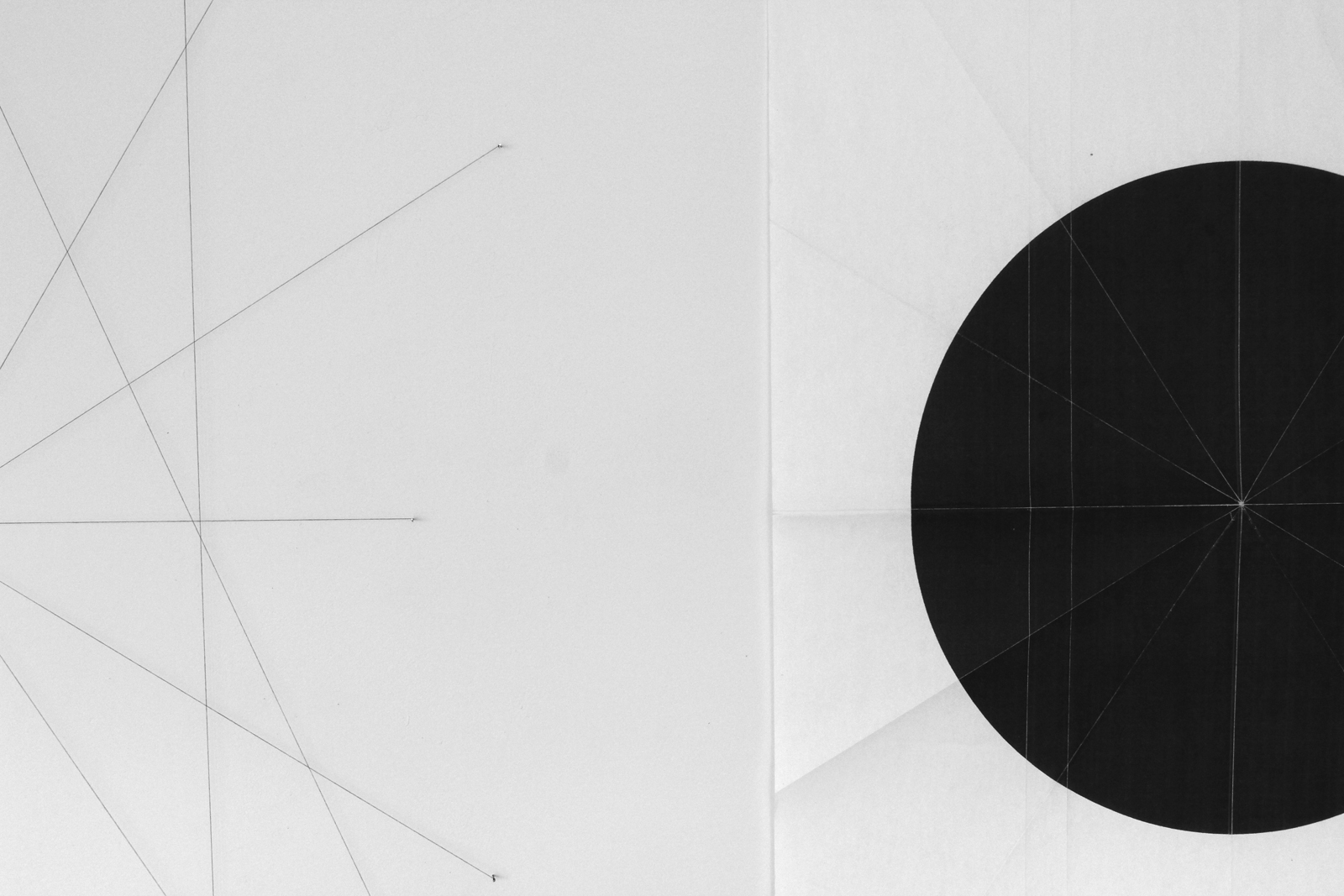 from the ongoing series: O/, Divided/Defined, Weights, Measures, and Emotional Geometry  2011, String and nails, paper and folds Various Dimensions