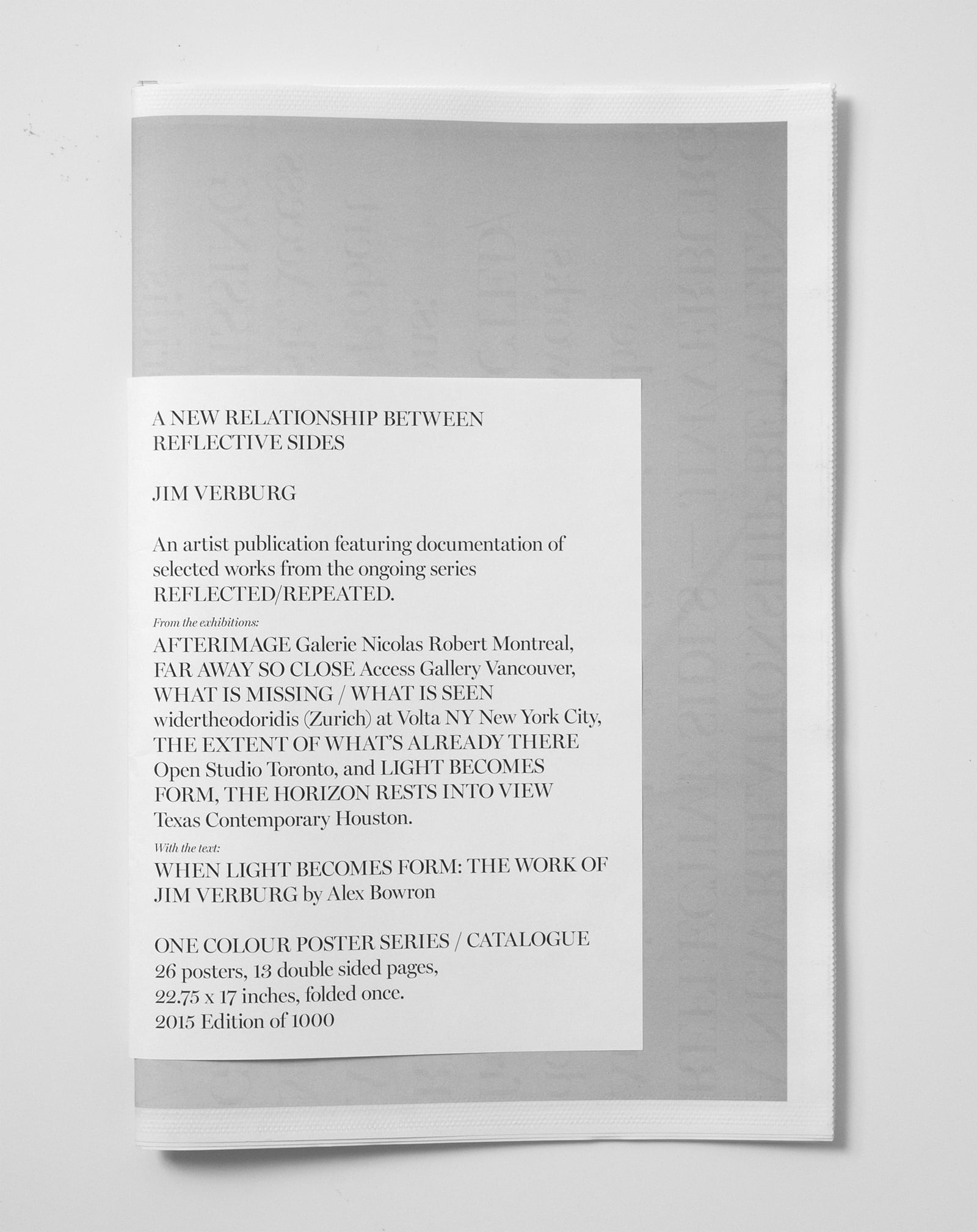 A New Relationship Between Reflective Sides  a one colour poster series/catalogue