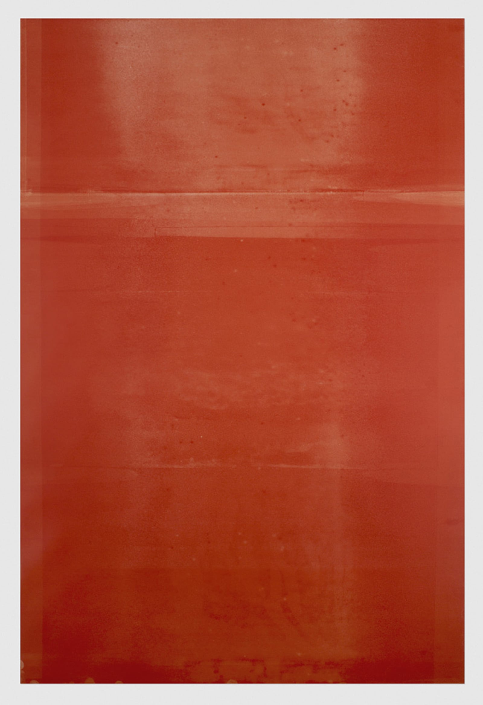 Untitled (red #2 from the ongoing series reflected/repeated)  2014, oil based ink painted onto mylar 24 x 36 inches