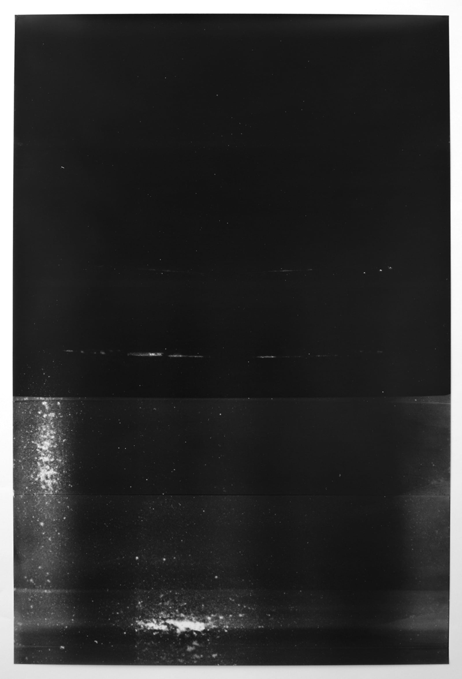 Untitled (black, from the series reflected/repeated - light becomes form, the horizon rests into view)  2015.  Oil based ink painted on frosted mylar.  24 x 35 inches unframed.