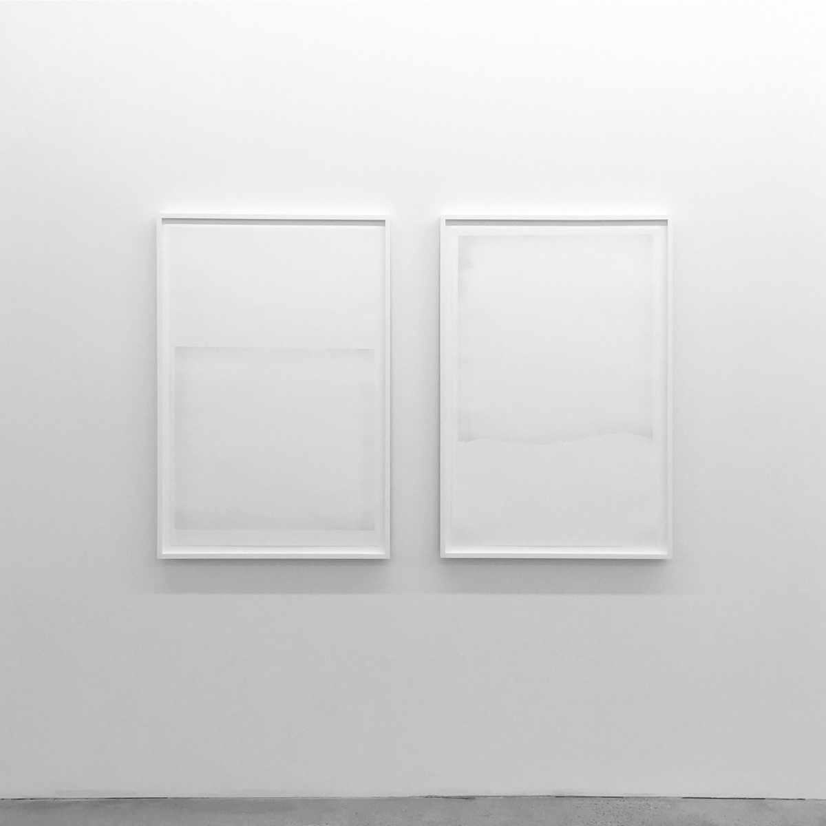 Untitled (Graphite #1 and #2, from the series An Accurate Silence)  Powered graphite on cotton paper 2016, 42 x 28 inches each