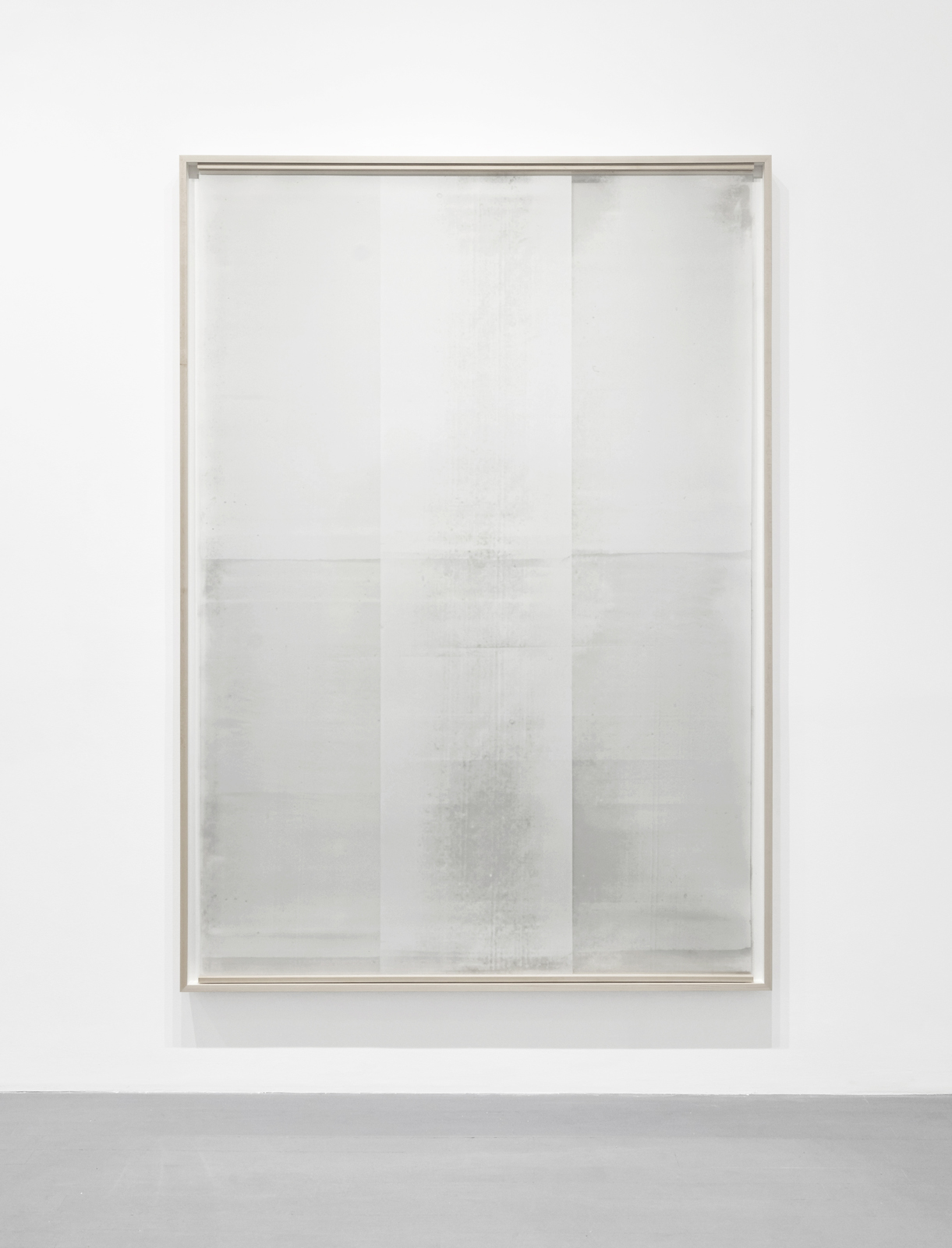 Untitled  (from the series  An Accurate Silence ), 2017 Oil based paint on clouded mylar suspended in front of acrylic on cotton paper, 71 x 51 inches (framed)