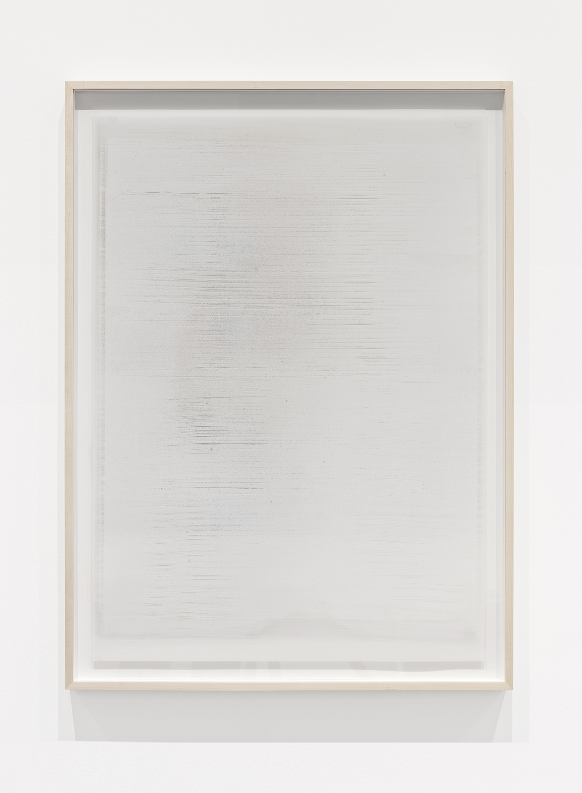 Untitled  ( white (line) , from the series  Impermanent Horizon ), 2017, 2 Layers, oil based paint on mylar hinged on plexi set in front of oil on mylar, 32 x 23 inches (framed)