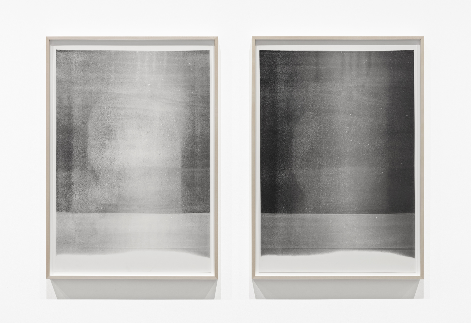 Untitled  (#1 and #2, from the series  When It Becomes Clear ), 2017 Oil based paint on mylar, 32 x 23 inches (framed)