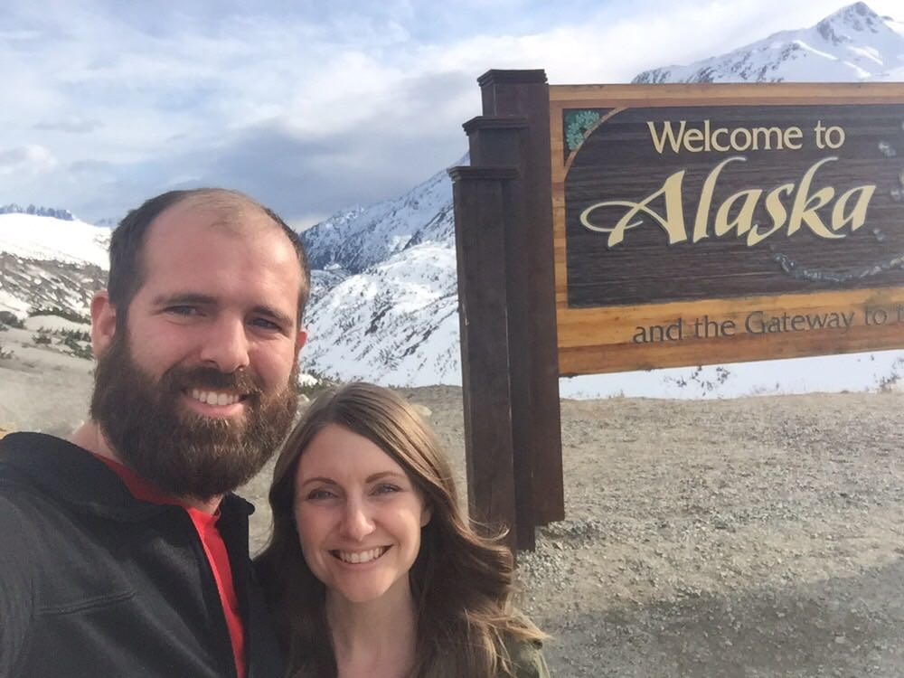 When Twila and I made it to Alaska with the trailer! Before a long descent into Skagway.
