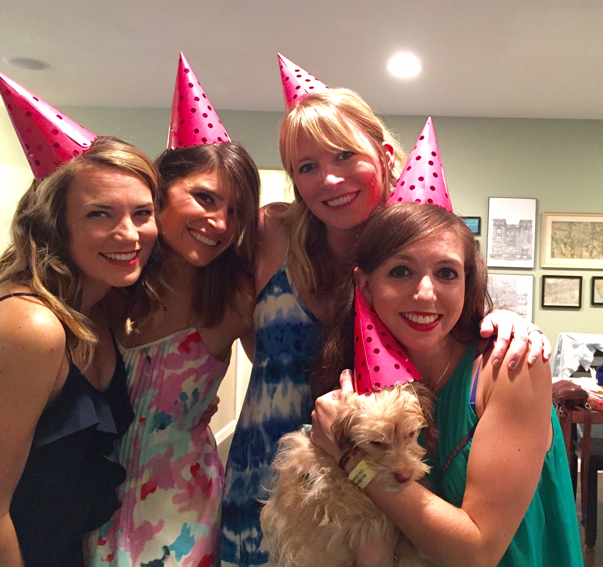 From the Left: Molly (Sister), Katie (Cousin), Sarah (Sister), Stephie (BFF), Pasta Bowl (pup)