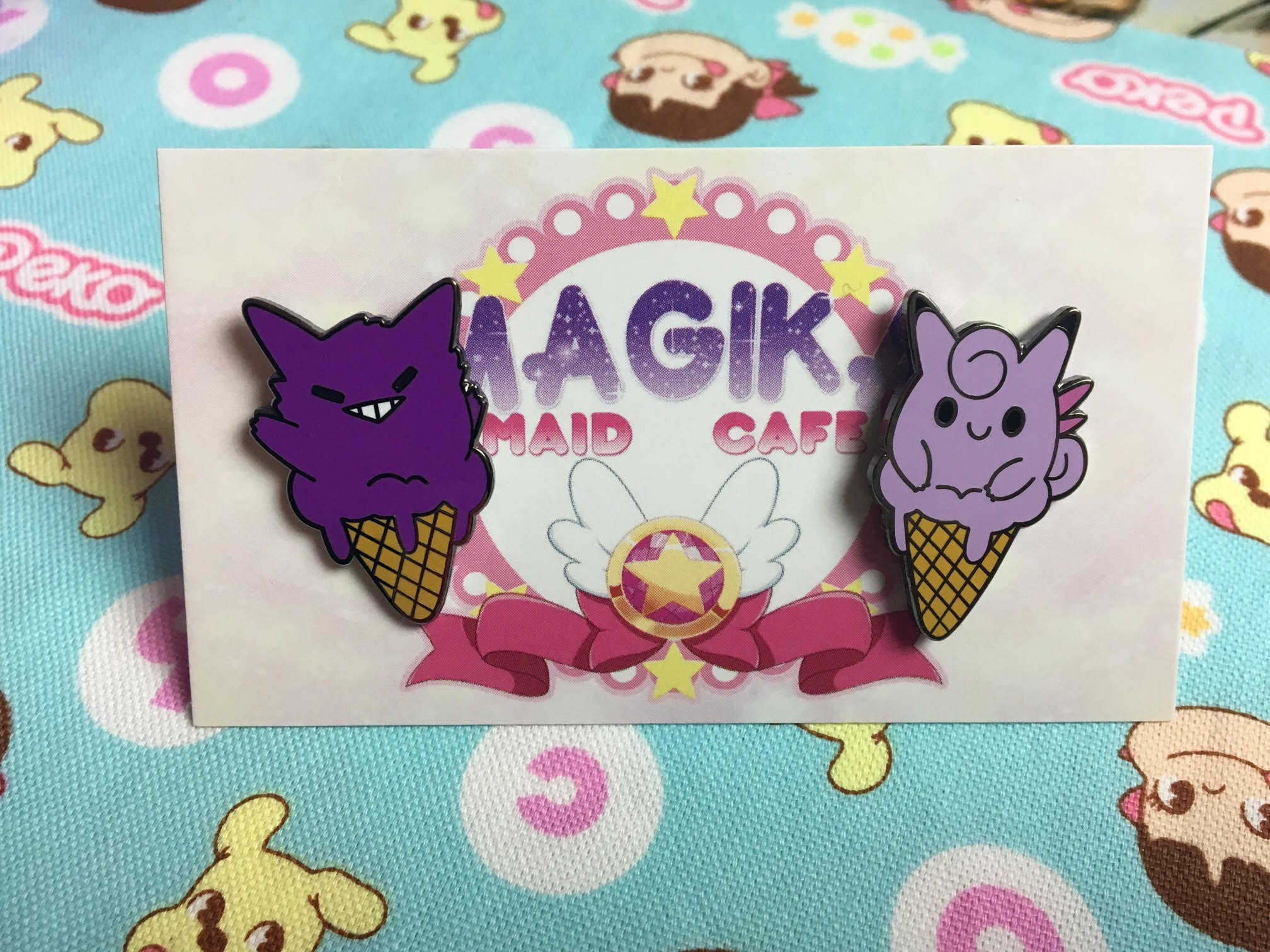 Gengar and Clefable Ice Cream Pins