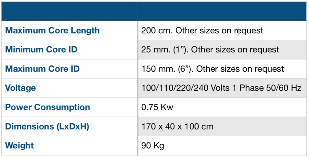 Manaul Core Cutter Specification