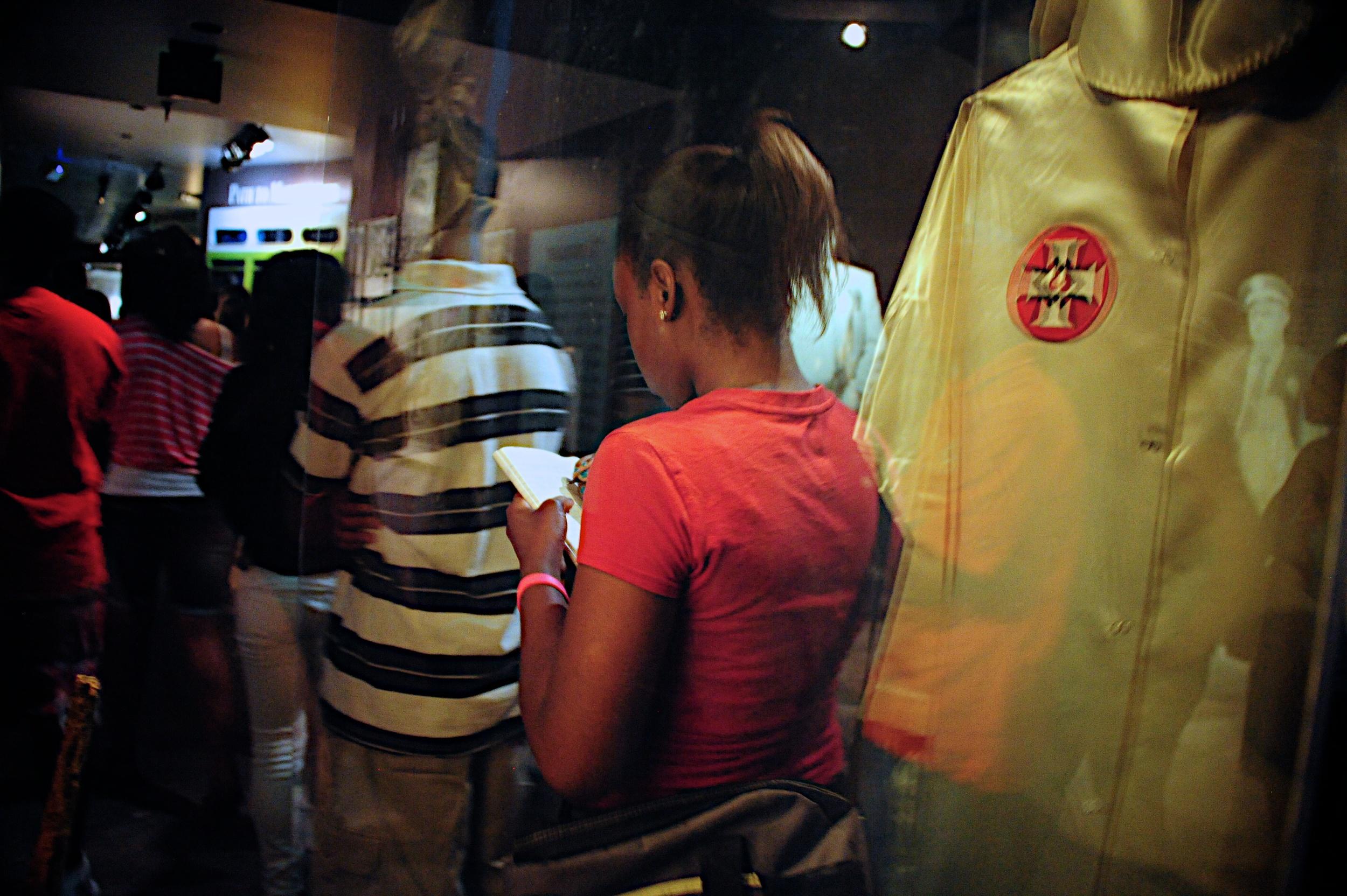 Birmingham Civil Rights Institute KKK cloak reflection 8799.jpg