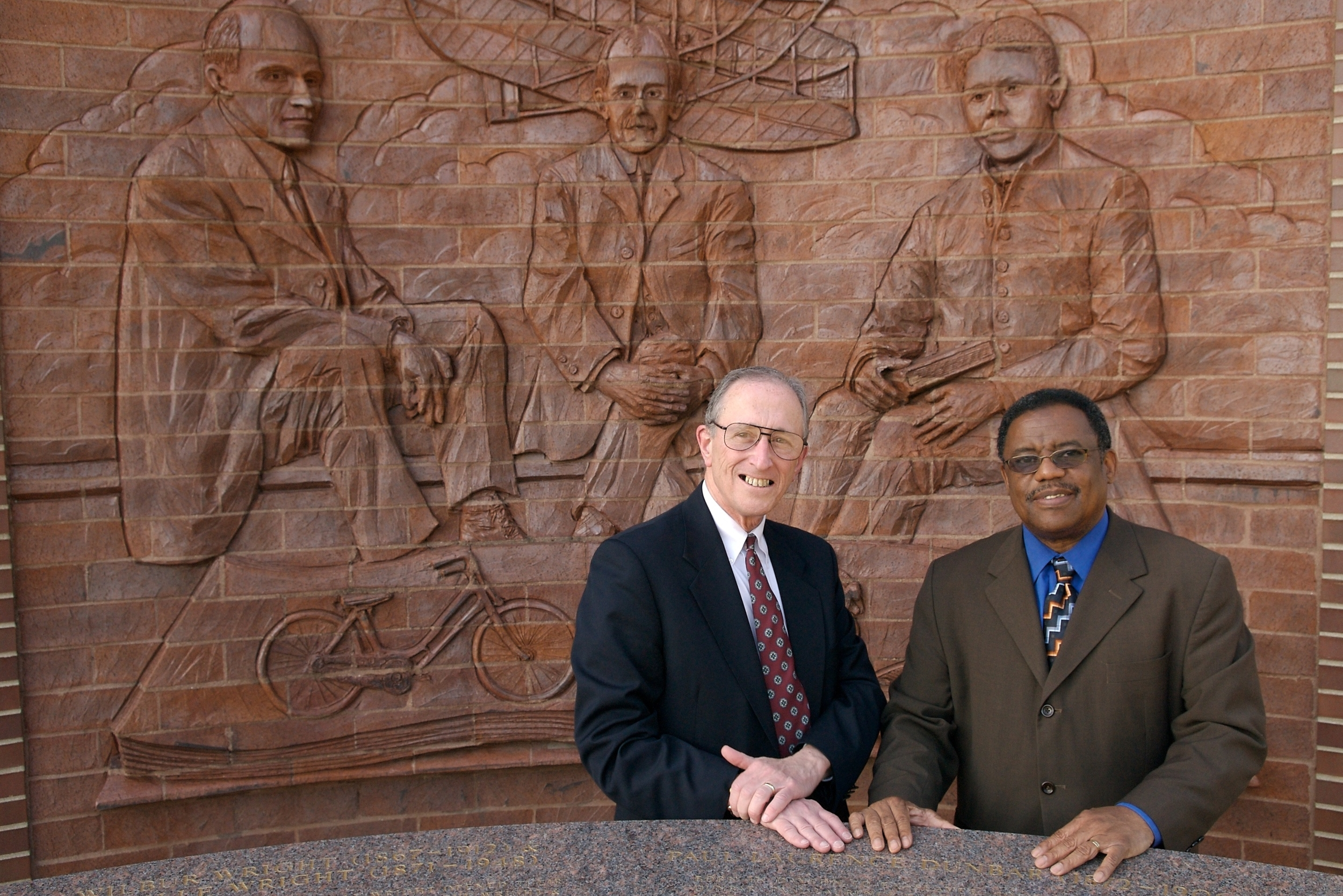 Judge Walter Rice & City Commissioner Dean Lovelace - Dayton, OH - photographed in the Wright-Dunbar neighborhood celebrating the early interracial friendship of the Wright Brothers and poet Paul Laurence Dunbar.