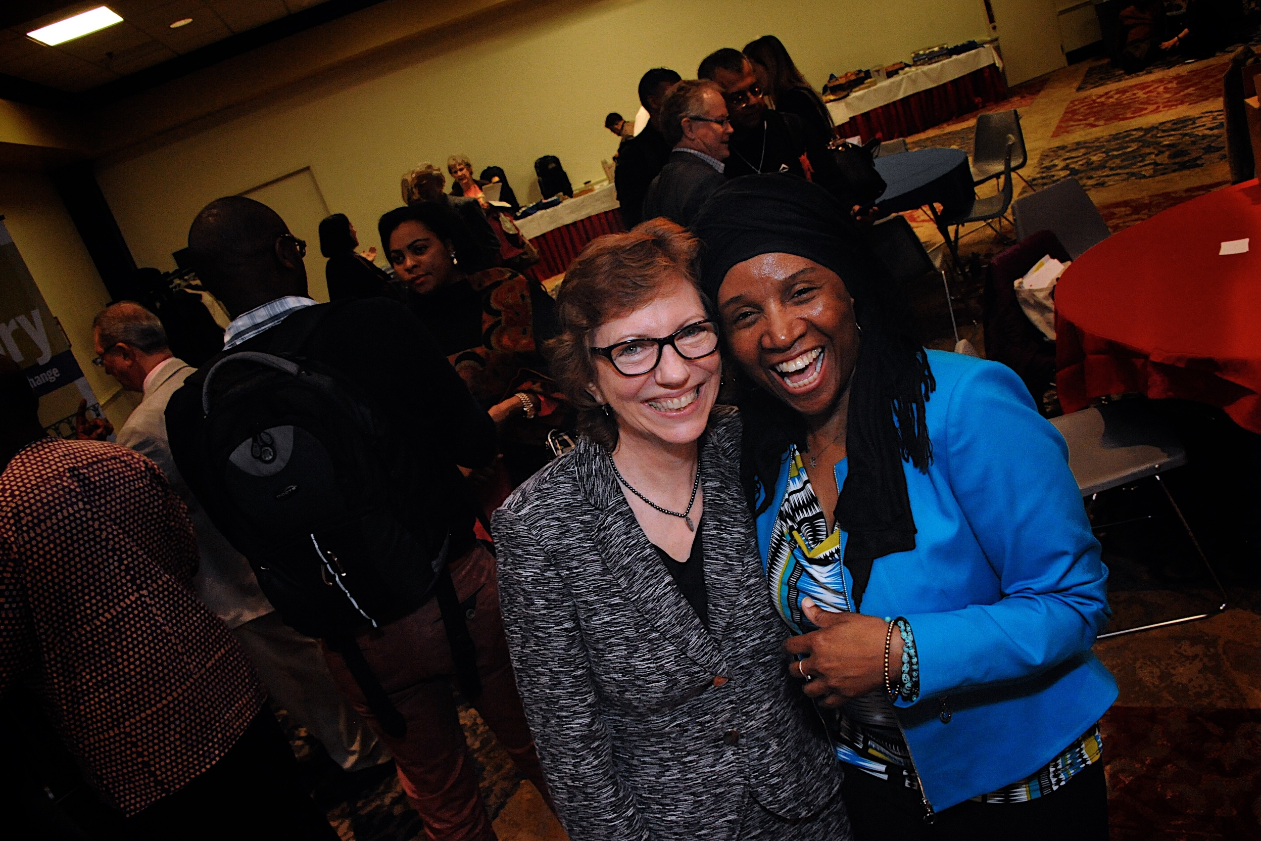 Martha McCoy, Executive Director, and Carolyne Abdullah, Director of Strengthening Democratic Capacity Team, with Everyday Democracy in Hartford, CT.