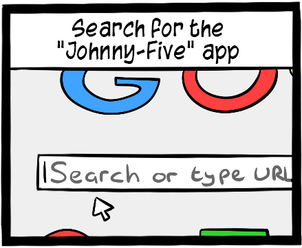 In the search bar, look for the Johnny-Five app.