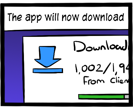 The app should be downloading.