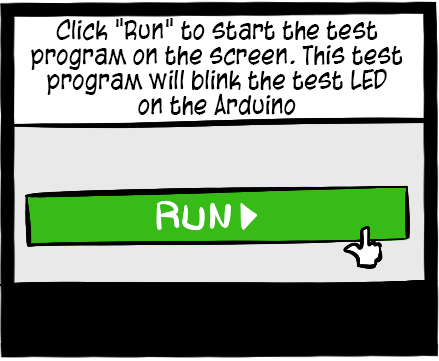 "Write the code of your lessons in the program space and click ""Run"" to execute your program."