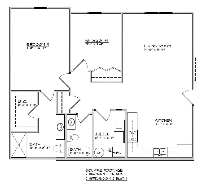 2 bedroom, 2 bath apartment.    $790 per month