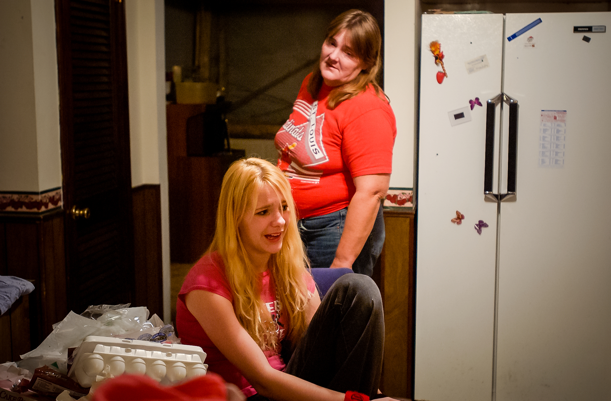 """Spirit and her mother, Cindy, argue about a trip to the store before she has to leave for the night-shift at GEX Automotive making sealant for car windows. Cindy had her first child when she was 16 and was hoping to have a girl. However, she did not have Spirit until 14 years later. """"I was a partier when I was younger, by the time I had her I grew up,"""" Cindy says. Spirit has never met her father."""