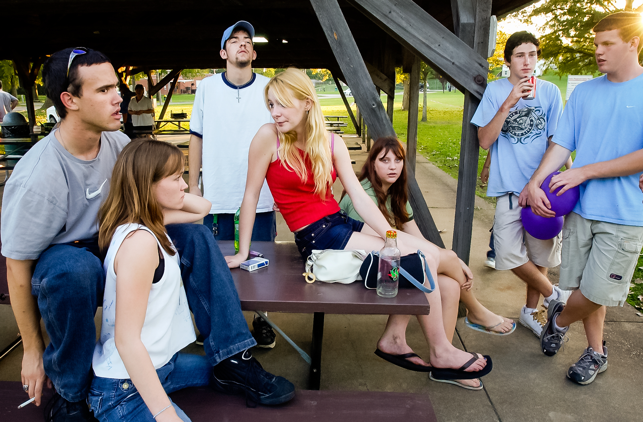 """Finding little to do Spirit and her friends hang out at the park. Most of their time involves smoking, socializing at the BP gas station, and walking around town. """"Look around you, we are in hell,"""" says Spirit."""