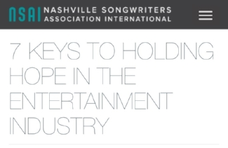Holding Hope in the Entertainment Industry - EHS's President, Elizabeth Porter, writes on maintaining hope in this months NSAI newsletter. Article can be found HEREhttps://www.nashvillesongwriters.com/7-keys-holding-hope-entertainment-industry#overlay-context=