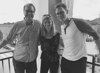 August 16, 2017 - EHS president, Elizabeth Porter, with Centricity Music's John Mays (left) and Christian Music Artist, Jason Gray (right); during interview for upcoming article
