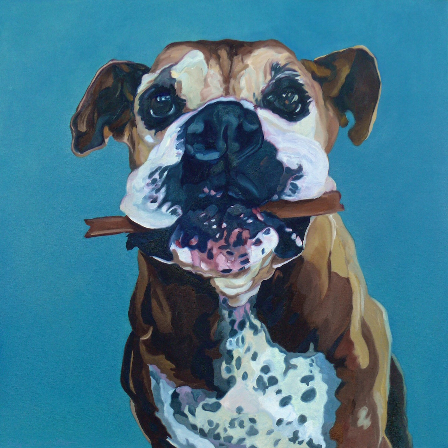 Happy Abby by Evelyn McCorristin Peters, oil on gallery wrapped canvas, 30X30""