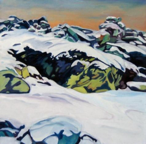 Snow Blue and Green Weir Farm Evelyn McCorristin Peters.jpg