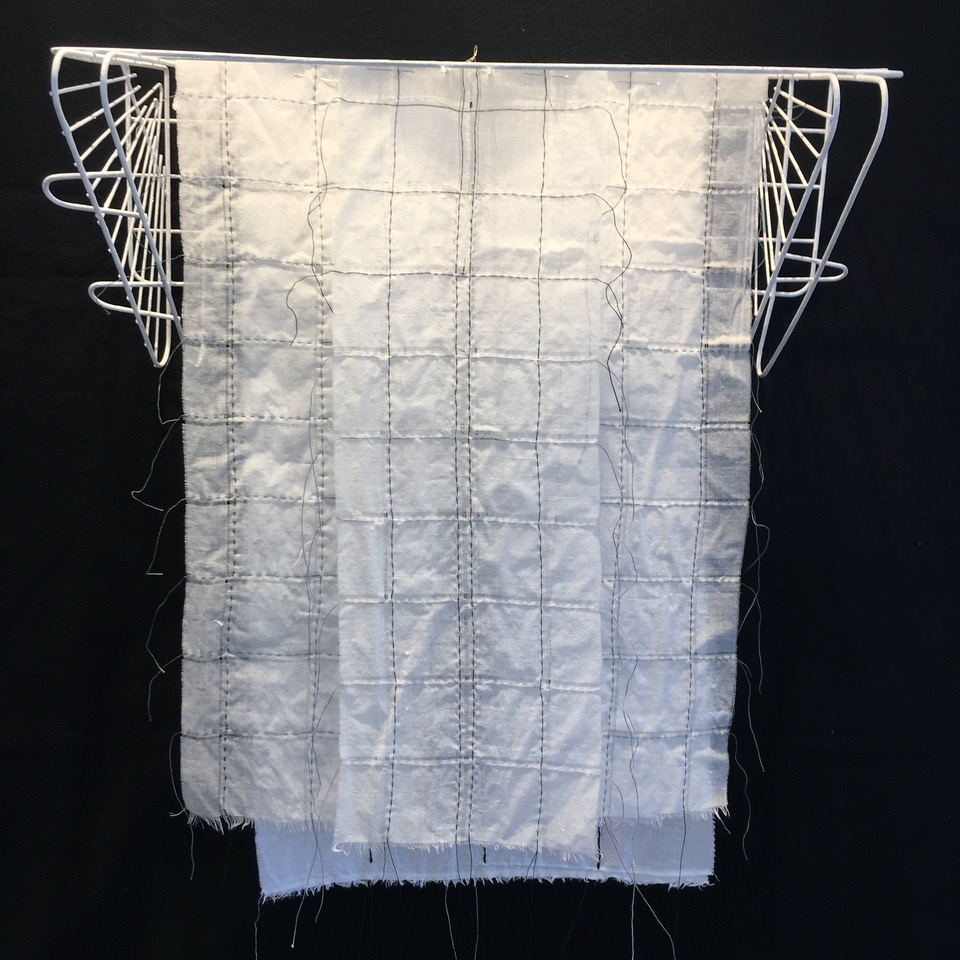 Sanctuary. (GRID) _36x26 (variable) Stitching on free hanging vintage fabric, found object,pins .jpeg