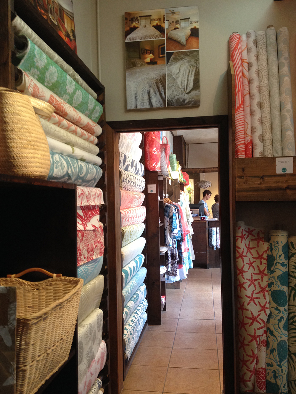 more fabric and Joie at the counter of the retail area