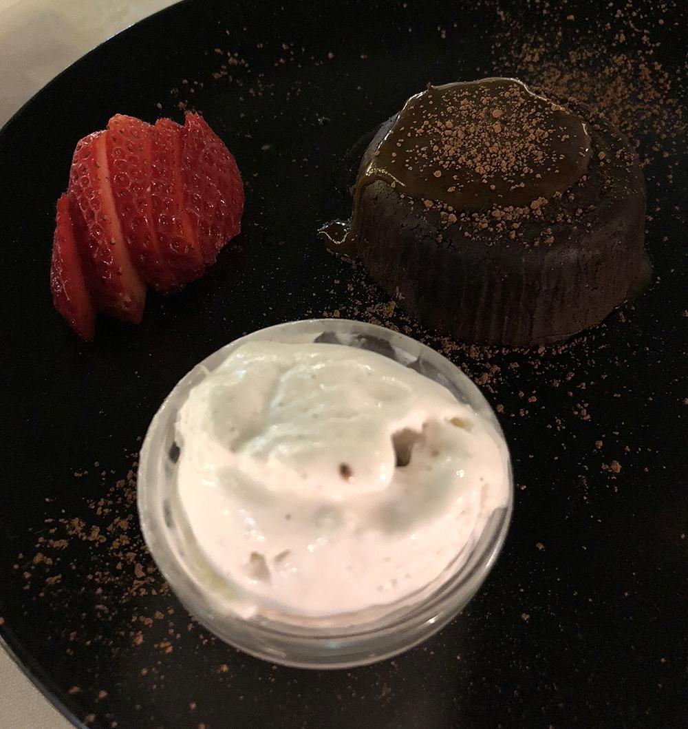 MOCHA SALTED CARAMEL CHOCOLATE LAVA CAKE WITH GELATO