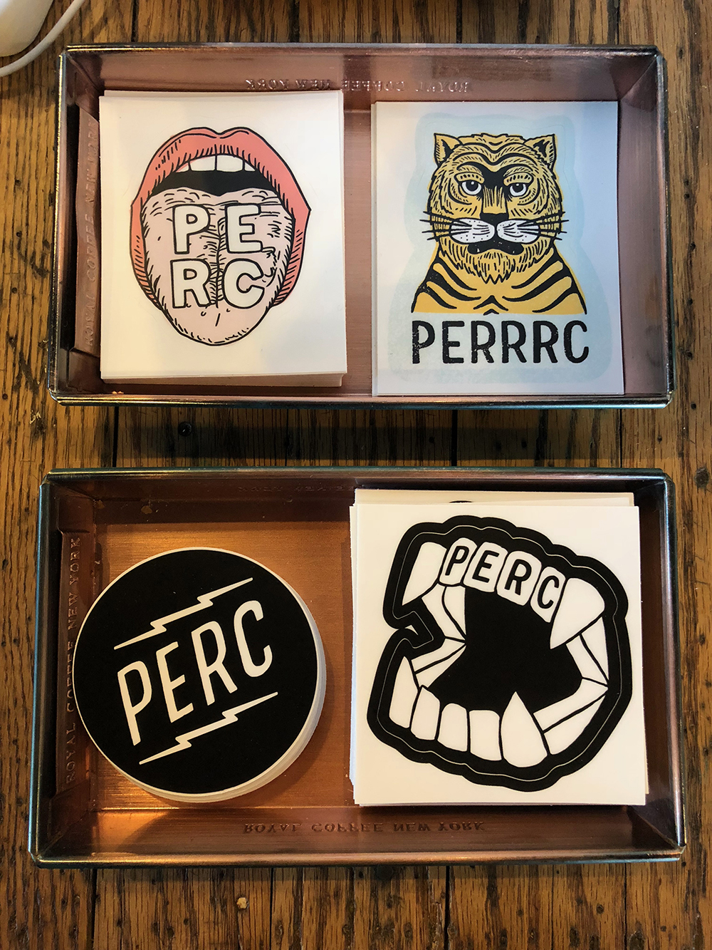 Loads of PERC stickers by yours truly