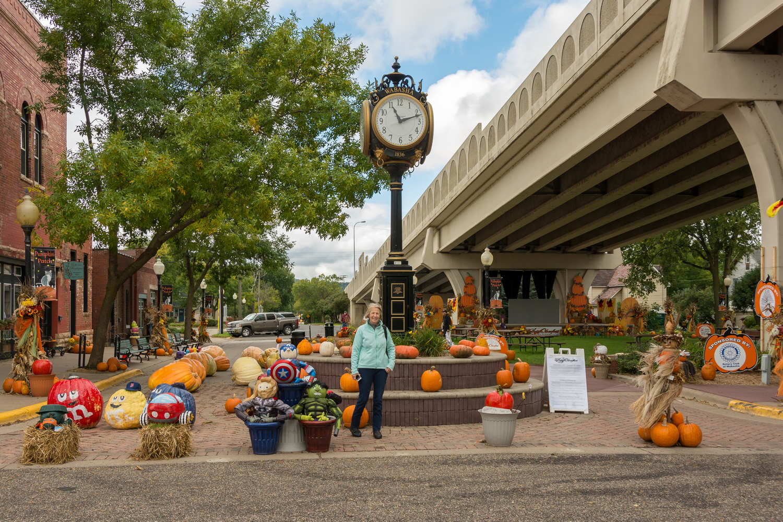 Fall display in Heritage Park under the bridge in Wabasha