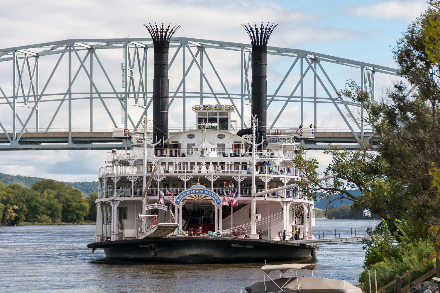 American Queen, the largest steamboat ever built. Docked in Wabasha near Slippery's.
