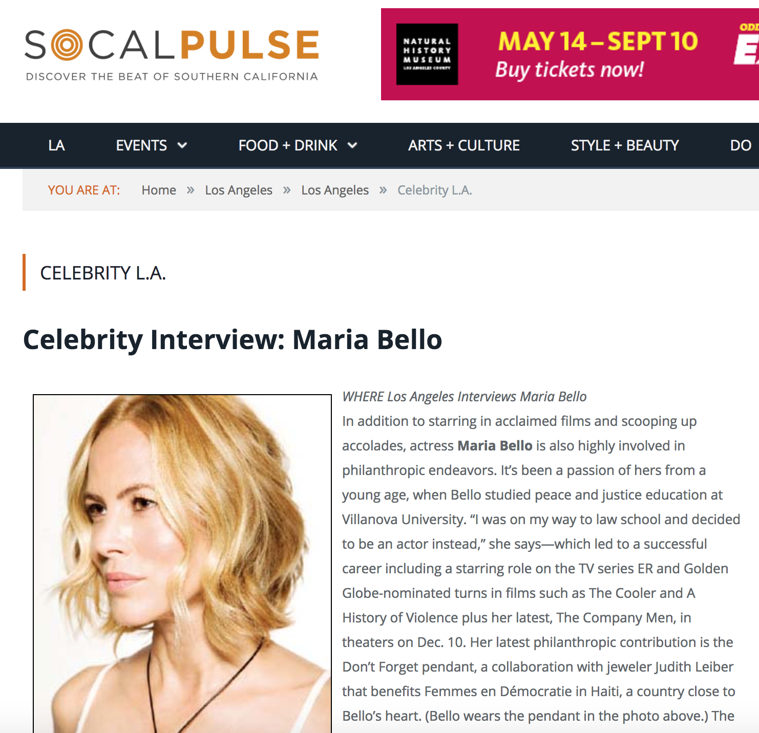 Celebrity Interview: Maria Bello - Curious where the stars shine on the west side? Read up on Maria Bello's favorites:We often scooter over to Abbot Kinney for popsicles or go to Wabi-Sabi, a great sushi restaurant. Yeah, most of my weekends are spent on Abbot Kinney Boulevard!
