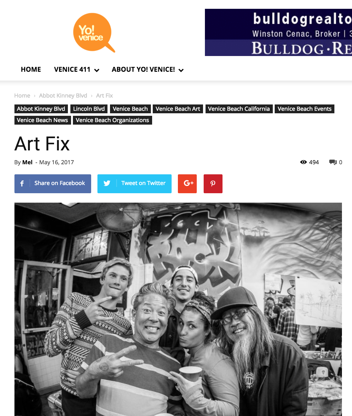 """Wabi Hosts EAT ART - Poet James Berkowitz will curate ARTravenous, a celebration of life, art, culture, poetry, and music at the Canal Club, 2025 Pacific Avenue, and Wabi Sabi, at 1635 Abbot Kinney Boulevard, will host the """"EAT ART/Before They Go"""" exhibit by artist Barbara Lavery and photographer Debbie Zeitman."""