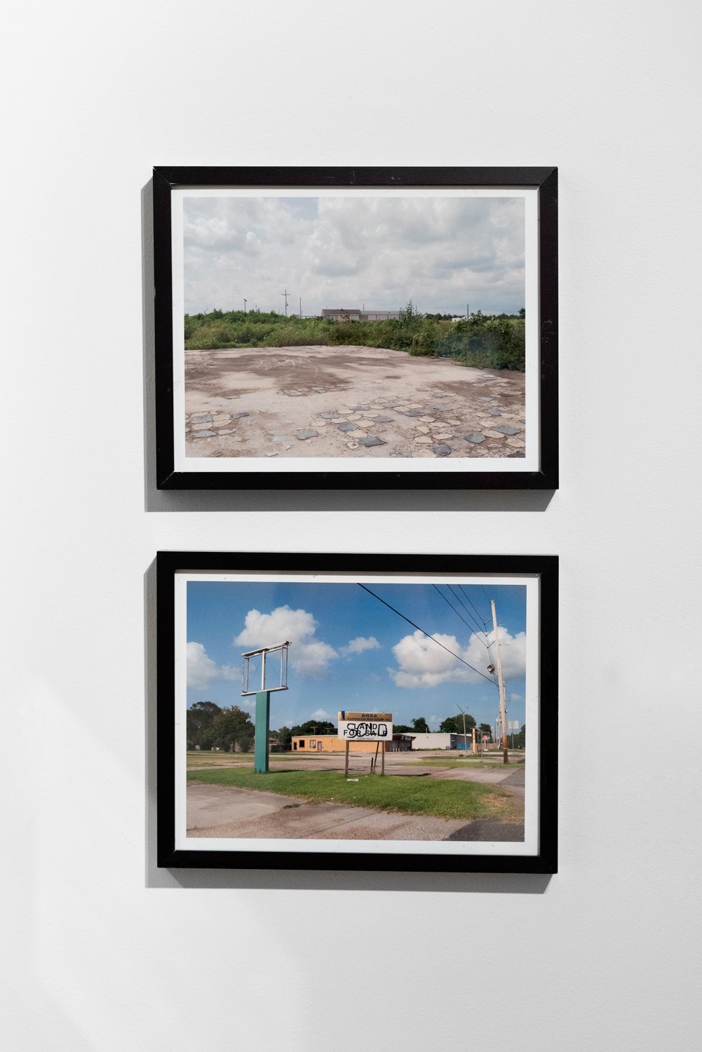 Ginny Hanusik. From top: Last Stop Mart, Saint Bernard Parish, LA, 2014; Bayou Road, Poydras, LA, 2015. Digital prints.