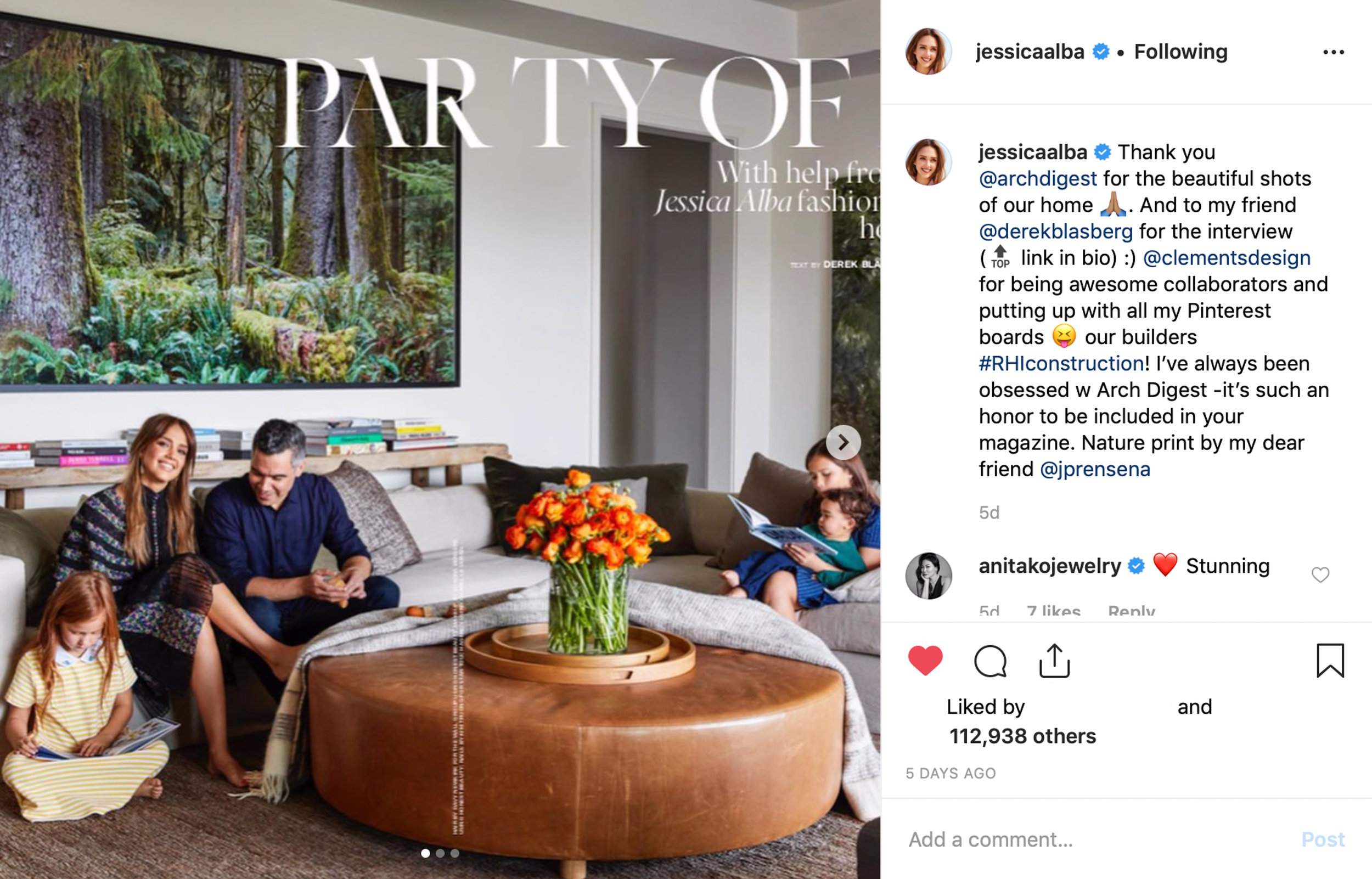 Architectural Digest Cover Story: Jessica Alba's Heaven On Earth, June 2019 (58x103 inches Hoh Rainforest Print)