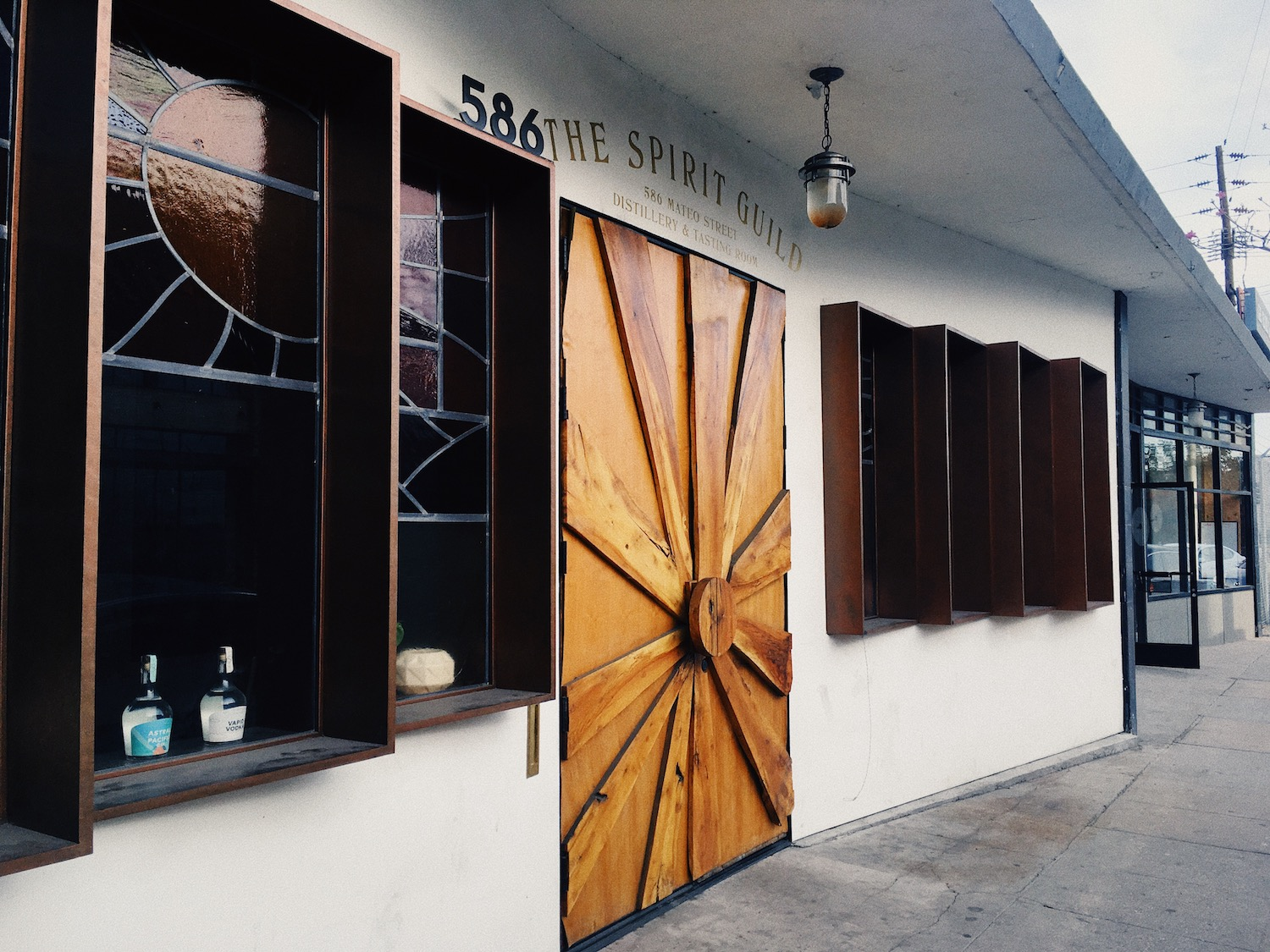 The funky entrance to the Spirit Guild distillery and tasting room.