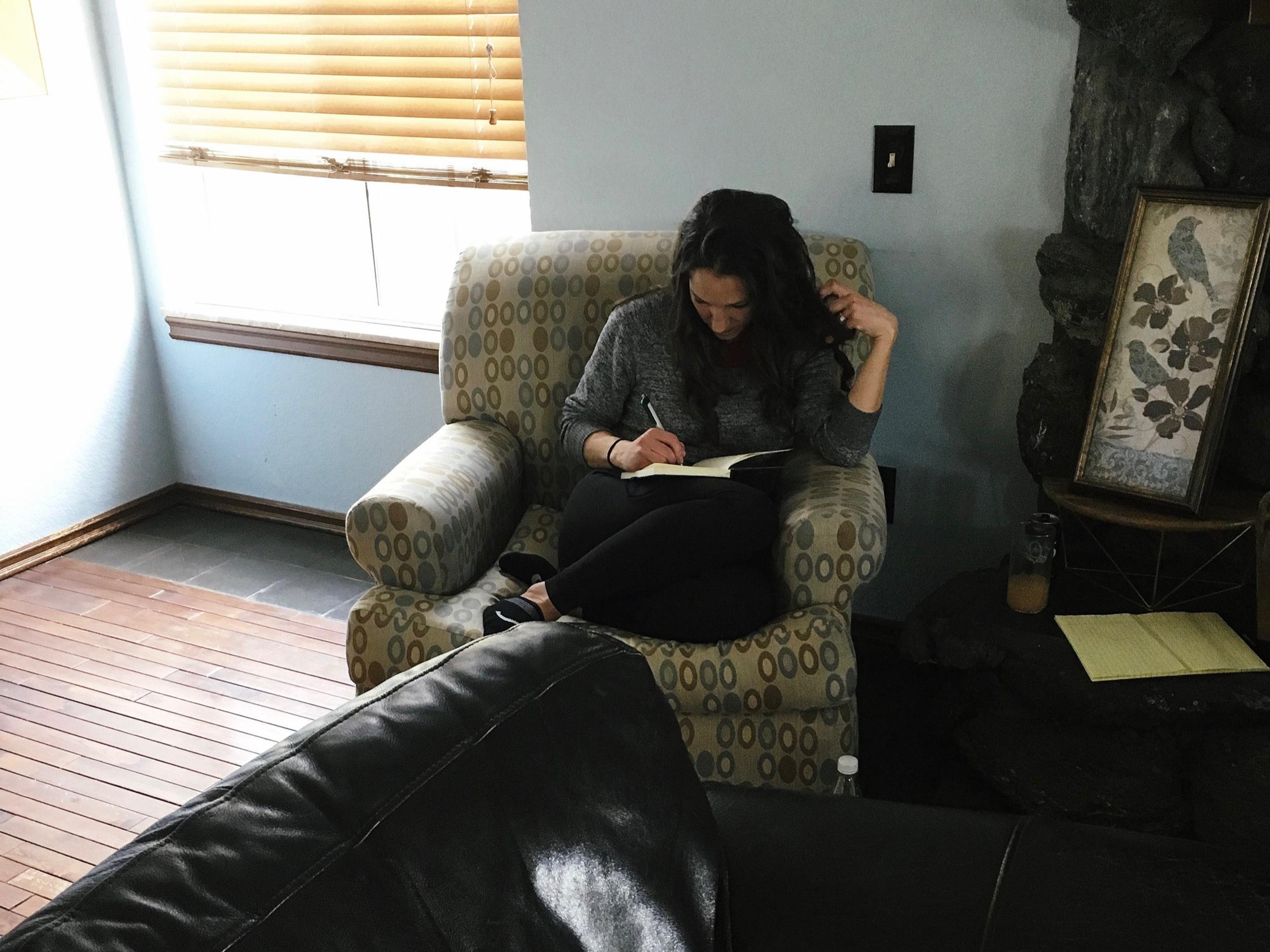 Karen gets settled for some scene writing.