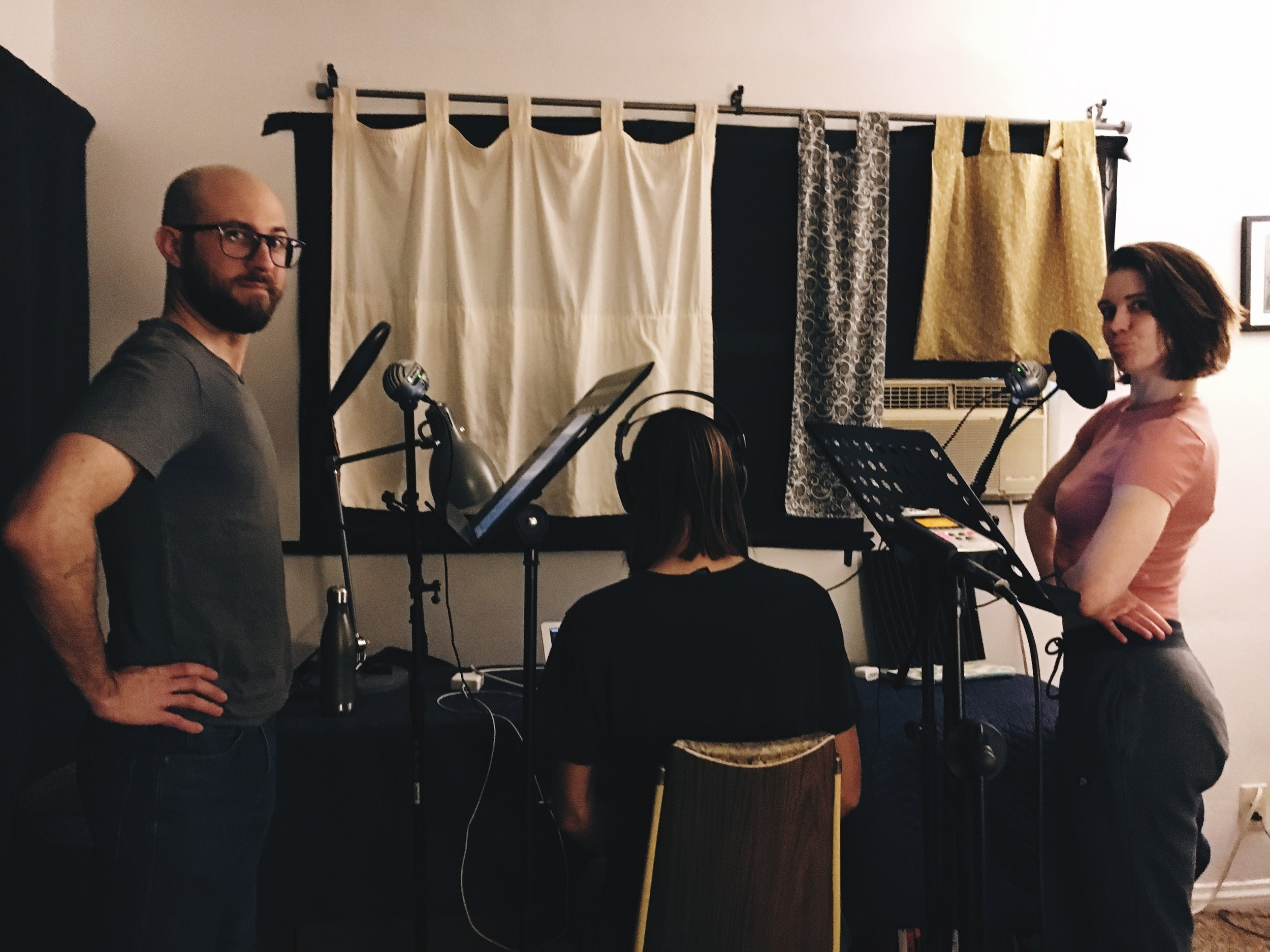 Chad and Kim get ready to record while Vince dials in the audio.