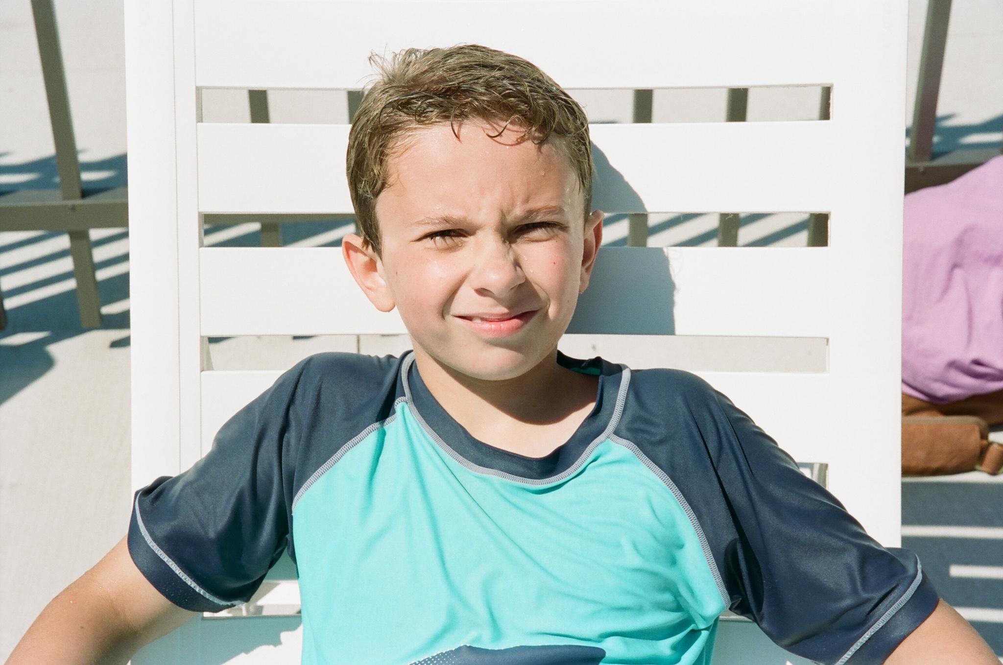 Portrait at pool of boy