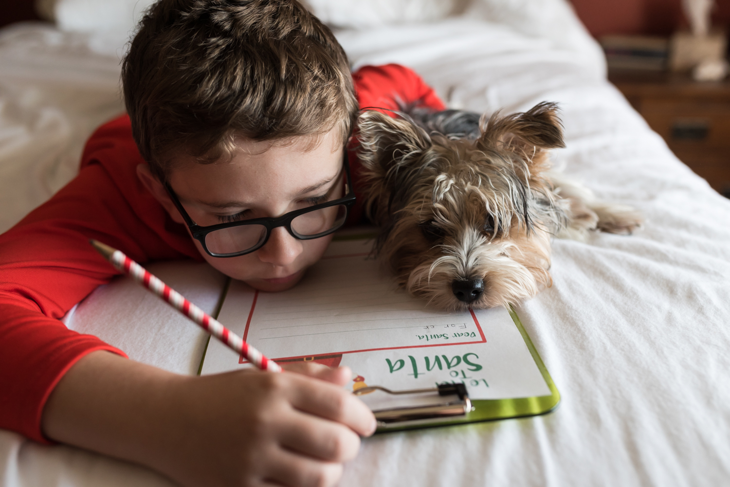 Boy and Puppy writing their Santa Letter on a Bed