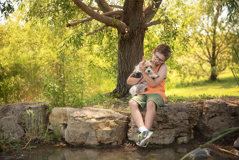 Boy-Dog-pond-park