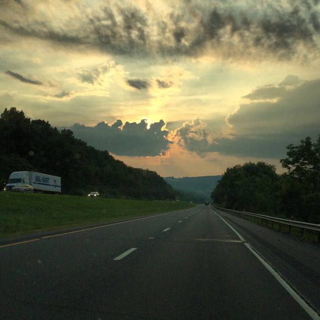 Northern Pennsylvania through the windshield. Almost home.