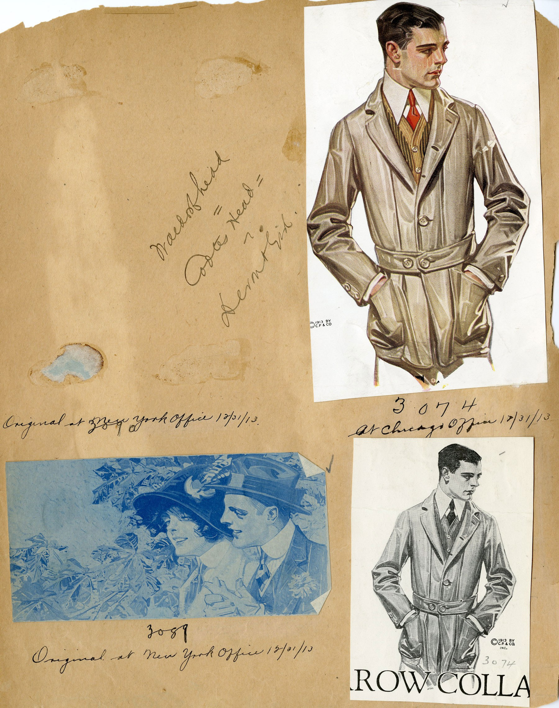 Sketches of Charles Beach in a Norfolk jacket in an original ARROW scrapbook from 1913.  Photo: Courtesy of PVH Archives