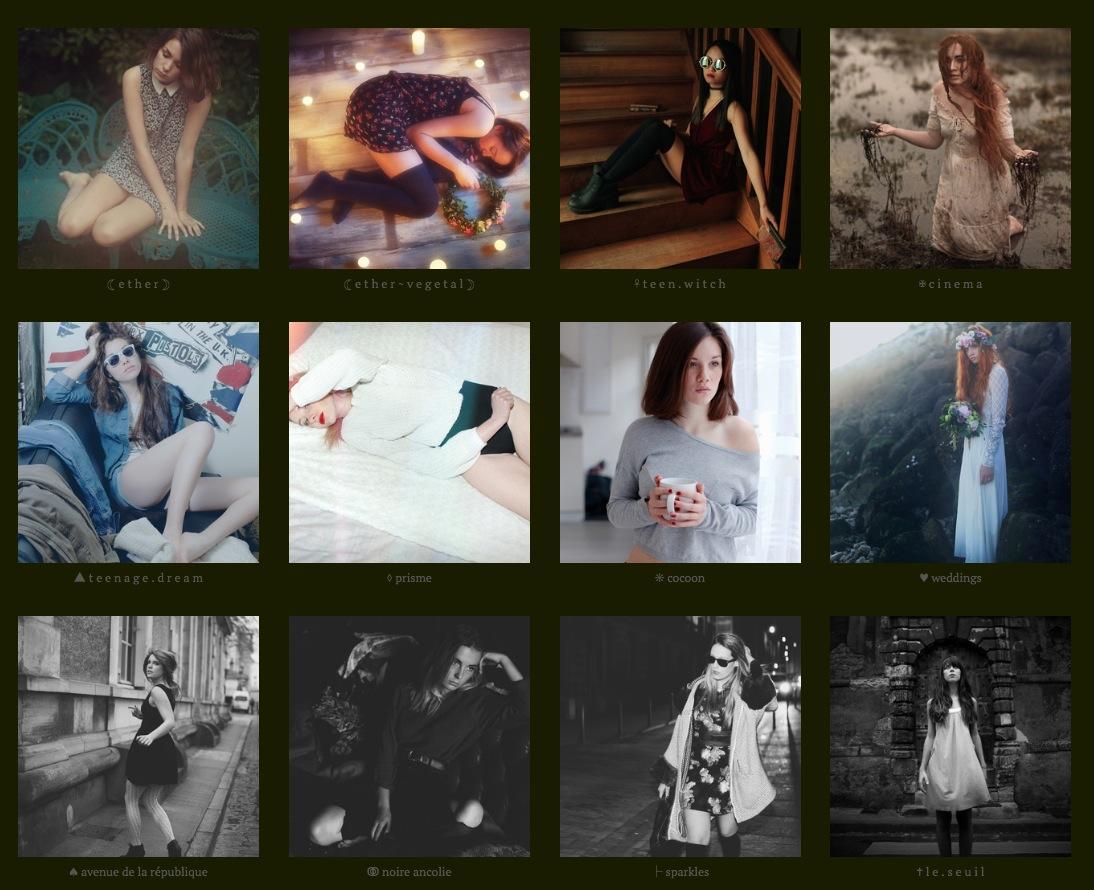 Mes différents styles photographiques, tels que présentés sur mon site :  www.ether.format.com